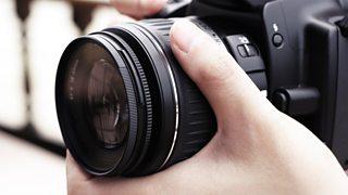 The focus ring on a DSLR lens