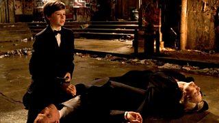 Gus Lewis as a young Bruce Wayne in Batman Begins