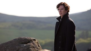 Benedict Cumberbatch as Doctor Who with a landscape in the background