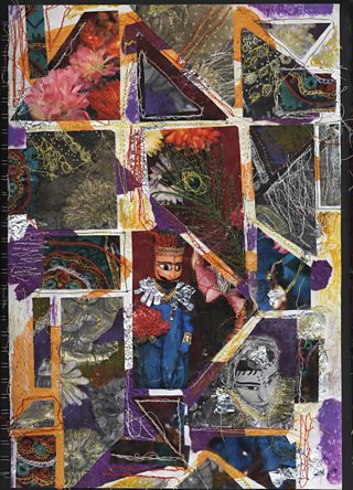 Student collage of photos of puppet figures with embroidery details and feathers