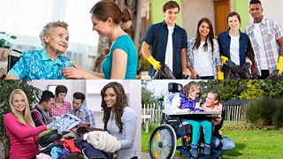 Montage image comprised of 4 examples of volunteering: a young woman caring for an elderly woman, teenagers collecting litter, young people sorting donations, young woman caring for a disabled child