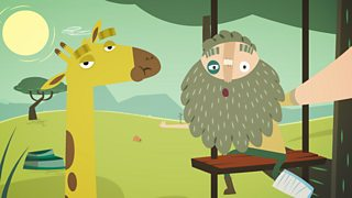 emmet the explorer and a giraffe