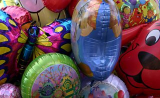 Helium-filled party balloons