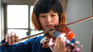 Practising the violin