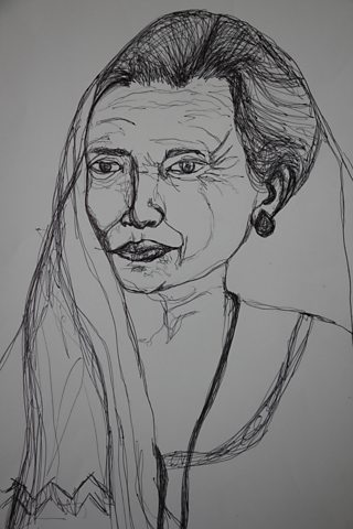 Student drawing of woman using continuous line