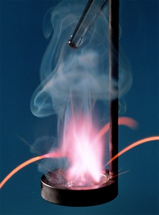 The reaction of potassium with water gives a lilac flame