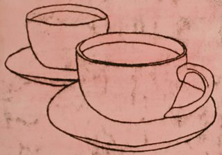 Student monoprint of cups and saucers