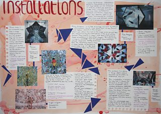 Pictures and student's notes describing various types of art installation
