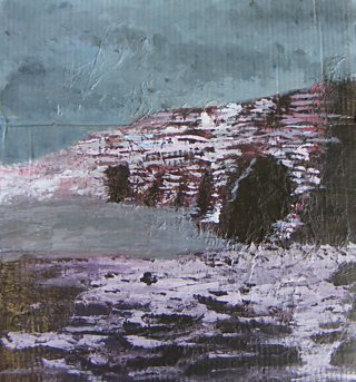 Textured seascape in acrylic on card and tissue