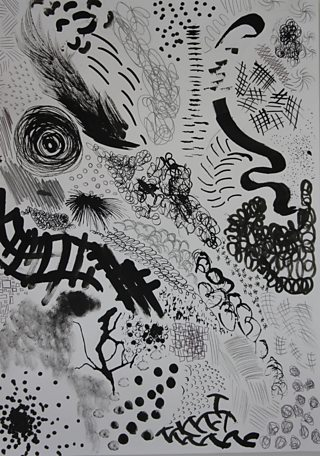 A variety of mark making technique experiments using pen and ink