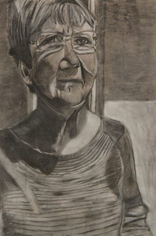 Student charcoal portrait of seated older woman