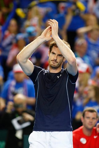 Andy Murray celebrates winning match point against Japan's Kei Nishikori. 14th June, 2016
