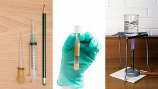 Pipette, syringe, pencil, test tube, beaker, bunsen burner