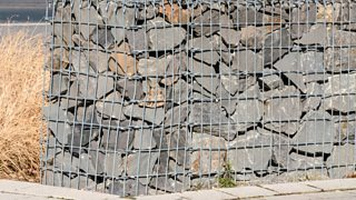 A photo of gabions