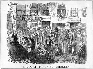 Illustration of a street scene showing overcrowded conditions and children playing in filth. The text on the image reads A Court for King Cholera