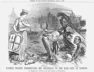 A dishevelled figure lurches from the banks of the Thames introducing three very sickly looking children to a woman. The text reads Father Thames introducing his offspring to the Fair City of London