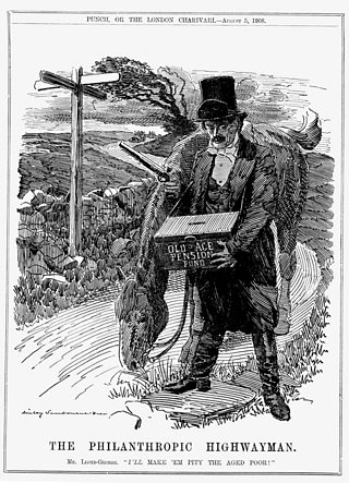 Cartoon of David Lloyd George brandishing a gun, dressed as a highwayman with a horse holding a box labelled 'Old-Age Pension Fund'. Text at the bottom of the image reads The Philanthropic Highwayman.