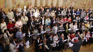 A church choir comprising soprano, alto, tenor and bass singers