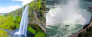 Photographs of Niagara Falls, Canada and Seljalandsfoss, Iceland