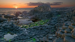 Photograph of Basalt columns at the Giant's Causeway, Northern Ireland