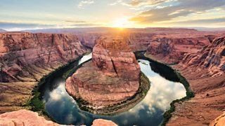 Photograph of Sandstone cliffs at Horseshoe bend, Colorado River in Arizona