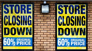 Store closing down signs