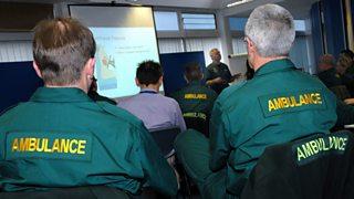 Ambulance staff at training session