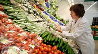 Supermarket fruit and veg being inspected for quality