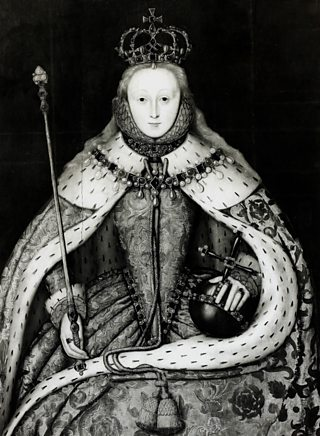 Portrait of seated Elizabeth I at her coronation. She is wearing her coronation robes and is holding a sceptre and an orb.