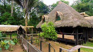 Photograph of a jungle Lodge in Ecuador Rainforest