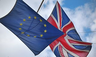 A Union Jack and a EU flag