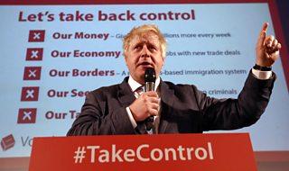 Boris Johnson campaining for Vote Leave