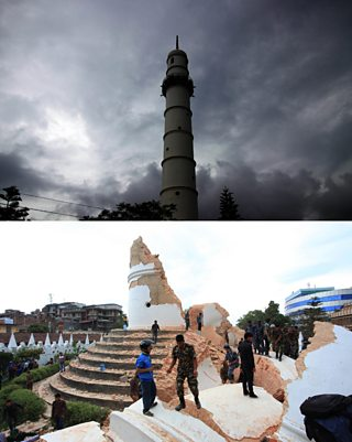 A before-and-after image of Dharahara Tower that was destroyed in the earthquake. The top image shows the tower intact, the bottom image shows people standing amongst the rubble of the tower.