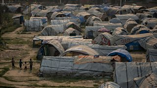 Dozens of tarpaulin-covered shacks that form part of Chuchepati camp, a 'tent city' set up for displaced victims of the earthquake in Kathmandu, Nepal.