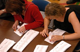Ballot papers being counted during an election