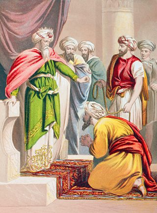 A painting depicting a King standing on a step in his palace and surrounded by his staff, as a servant kneels before him begging forgiveness