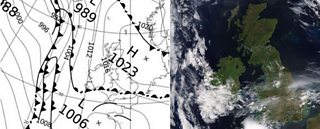 Photograph of Synoptic chart and Satellite image for Sat 18 July 2017