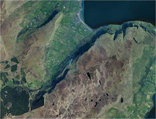 Photograph of satellite image of Glenariff headland