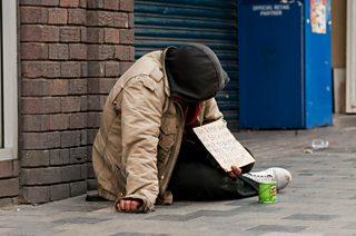 Homeless man begging on Sauchiehall Street, Glasgow