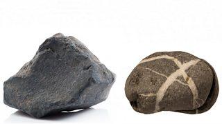 Photograph of basalt and granite