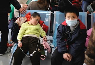 Chinese children receive transfusion at Children's Hospital in Beijing