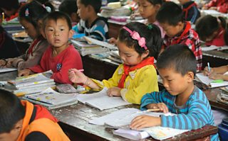 Primary school students at a village in Shangluo, Shaanxi province, China