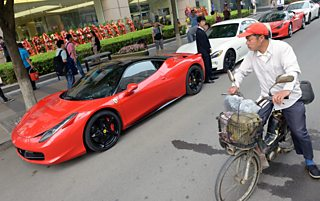 Expensive Ferrari sports cars parked in Beijing