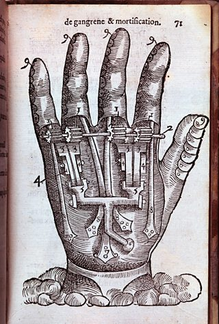 Cross section of a hand made of mechanisms instead of nerves and muscles. Figure from the medical and surgical essay by Ambroise Paré printed in Paris in 1551