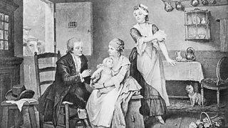 Edward Jenner yn brechu plentyn gyda mater o law Sarah Nelmes, a oedd wedi dal brech y fuwch tra'n godro.