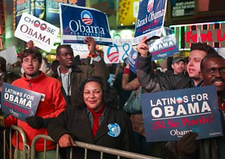 Obama supporters in New York, 2008