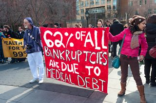 Protesters campaigning for publicly-funded healthcare, New York, 2013