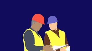 Graphic of two men in hi-vis and hard hats
