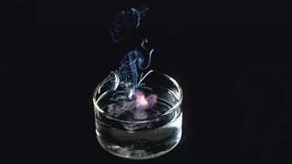 Potassium reacting and showing a lilac flame in a bowl of water