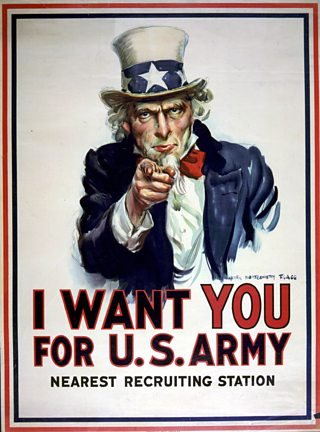 World War I, American, recruitment, poster, Uncle Sam pointing, finger, recruit soldiers, Army, USA, 1918